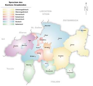 Verteilunng der räteromanischen Dialekte in Graubünden