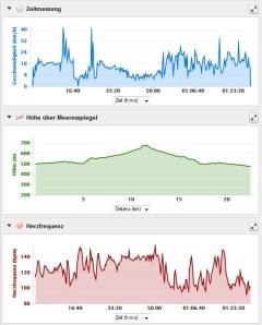 Diagranne: Geschwindigkeit - Hühenmeter - Puls